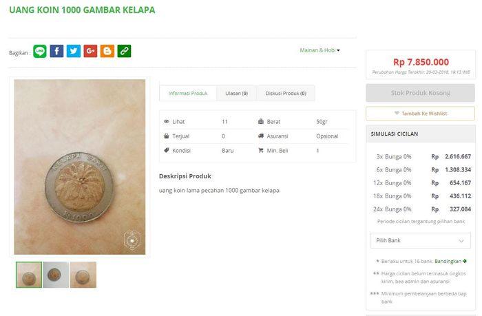 Menjual koin di toko online.