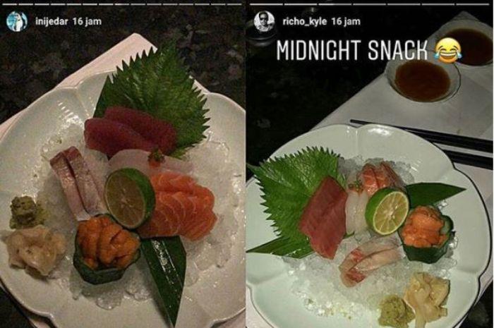 Jessica Iskandar dan Richard Kyle memosting makanan serupa