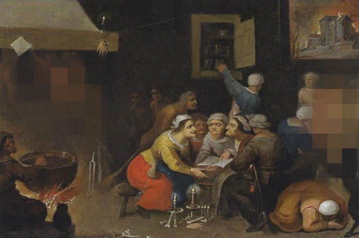 Pertemuan para Penyihir , lukisa Isabella Francken. Perhatikan potongan tangan yang dipakukan di atas tungku api dan dibawah lantai