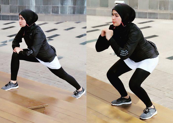 Soraya Larasati berolahraga.
