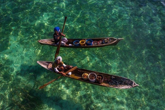 Salah satu foto orang Bajau dari atas