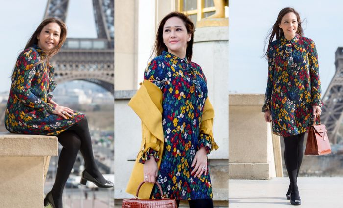 Maia Estianty padukan shirt dress floral yang colorful dengan stocking dan pumps block heels