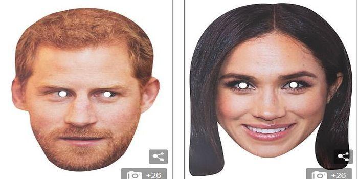 Topeng pasangan Keluarga Kerajaan Inggris yang baru.