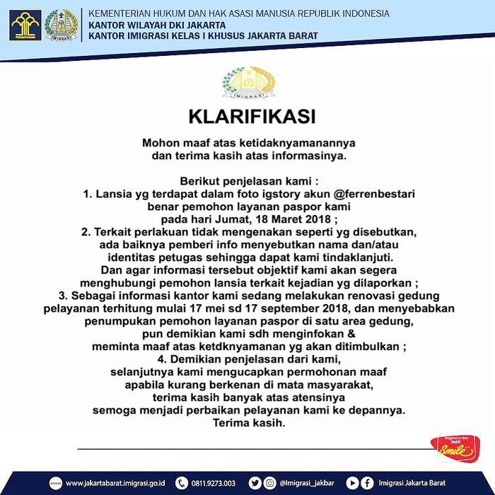 Klarifikasi sebuah pelayanan imigrasi di Jakarta Barat