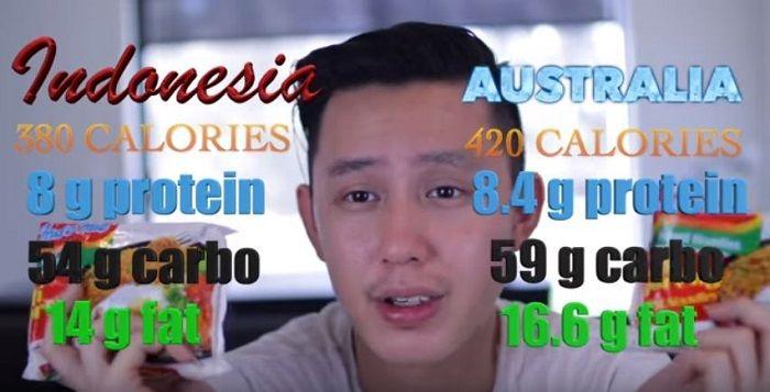 Kandungan nilai gizi Indomie Indonesia vs Indomie Australia