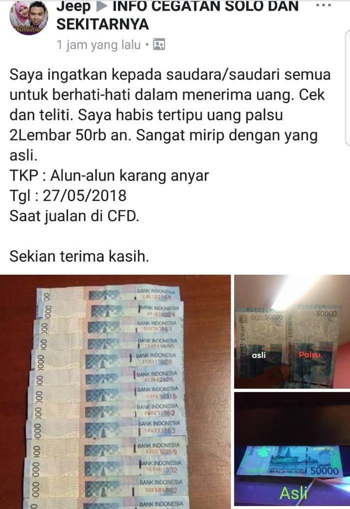 status seorang pengguna Facebook yang menerima uang palsu