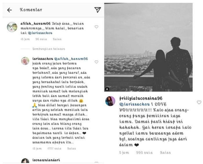 Prilly Latuconsina membalas komentar Larissa Chou