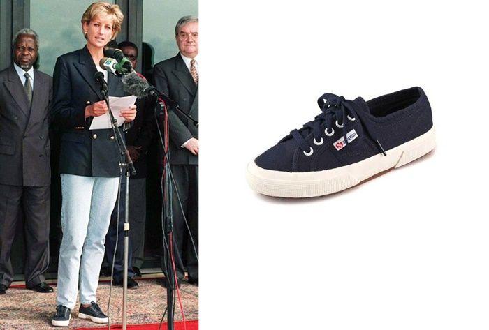 Putri Diana mengenakan sepatu kets hitam | Who What Wear