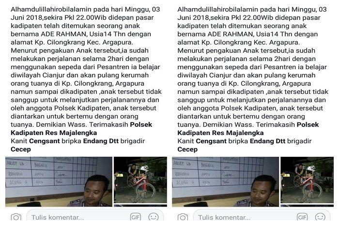 Ade diantarkan oleh pihak Polsek Kadipaten Majelngka