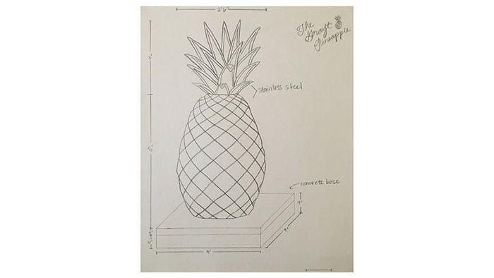 Rancangan patung nanas berongga.