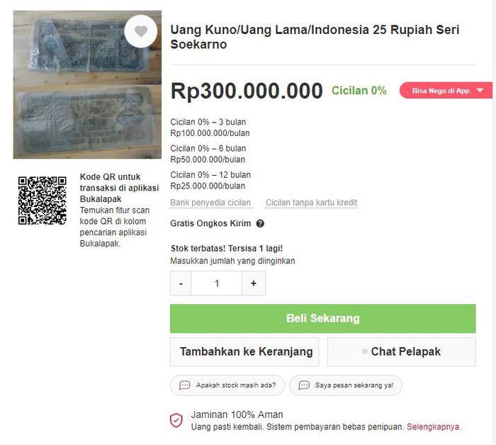 Uang lawas Indonesia dengan harga menggila
