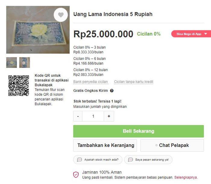 Uang lawas Indonesia harga menggila