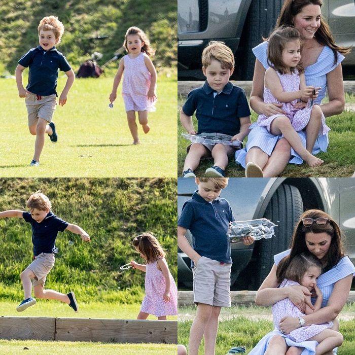 Suasana saat kate menemani Pangeran George dan Putri Charlotte bermain