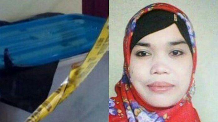 Mayat perempuan yang ditemukan dalam boks dan foto korban (Kolase)