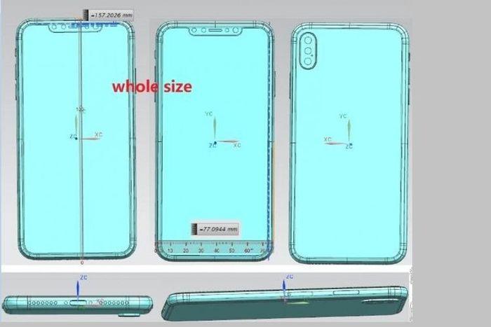 Bocoran skema yang diduga iPhone X Plus, memiliki tiga lensa di bagian belakang.