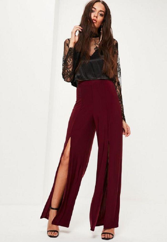 Slit wide leg pants + stiletto heels