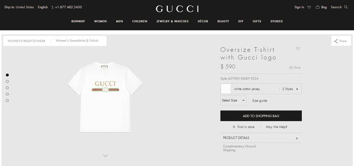 Kaus oblong Gucci