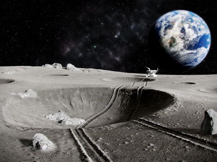 Ilustrasi permukaan Bulan.