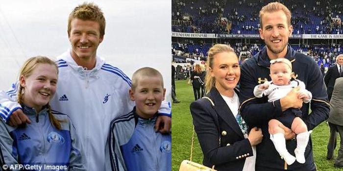 Harry Kane di tahun 2005 berfoto dengan David Beckham juga teman yang saa ini menjadi tunangannya, K