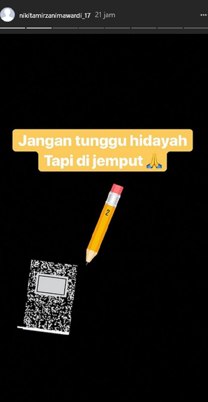 Unggahan Instagram Story Nikita Mirzani.