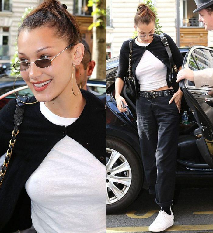 Bella Hadid terlihat stylish dan simpel dengan busana kasual yang dikenakannya saat di bandara