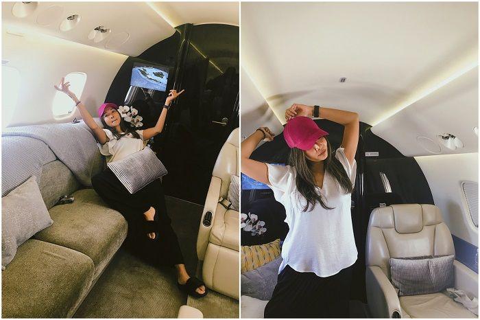 Intrior jet pribadi milik Maia Estianty yang tampak mewah
