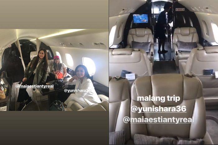 Intrior jet pribadi milik Maia Estianty