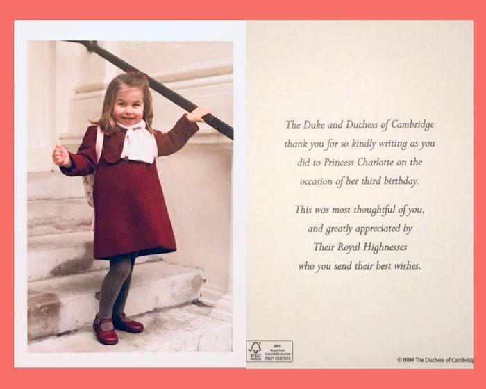 contoh kartu balasan dari Putri Charlotte