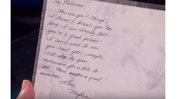 Surat dari Meghan Markle untuk Michelle Fanara.