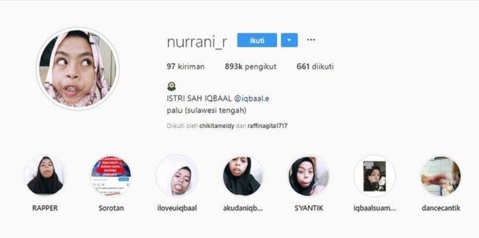 Jumlah followers di instagram Nurrani capai 800 ribu lebih