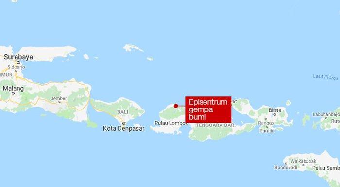 Lokasi titik episentrum gempa bumi.