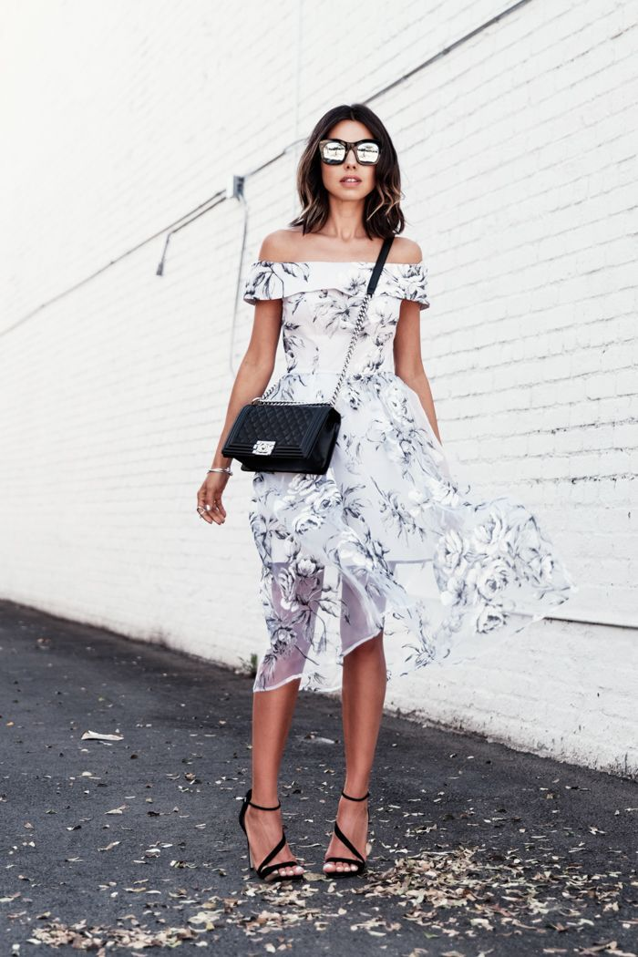 off shoulder dress + sling bag