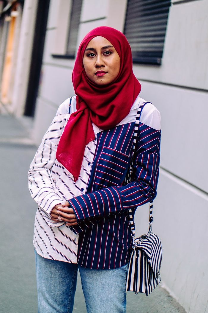 striped off shoulder hijabers