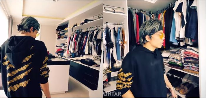 Walk in closet di rumah Verrel Bramasta