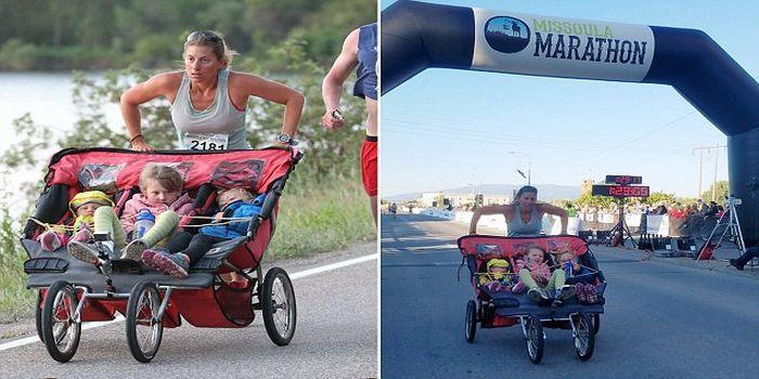 Ide lari mendorong stroller datang dari suaminya