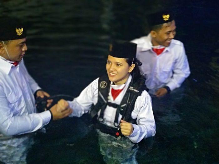 Marsha Aruan saat dijumpai Grid.ID ketika melakukan gladi bersih pengibaran bendera di Seaworld, Ancol, Jakarta Utara, Jumat (10/8/2018).