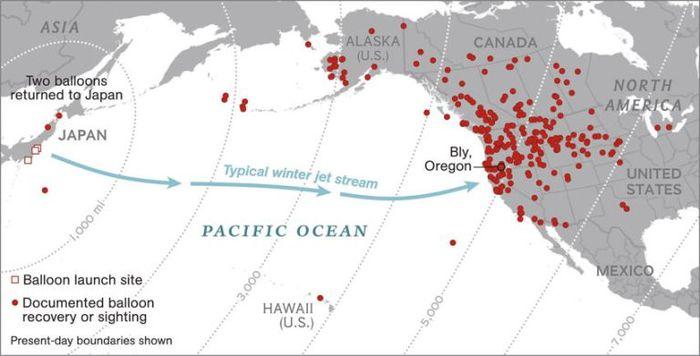 Jalur penerbangan balon api Jepang