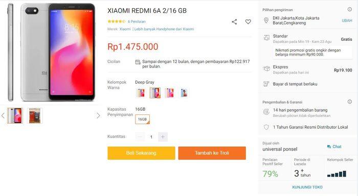 Xiaomi Redmi 6a di toko online Lazada