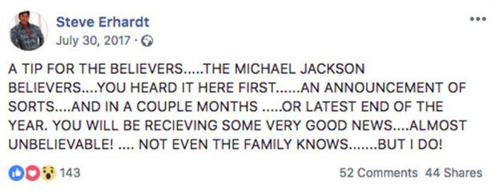 Postingan mantan stylist Michael Jackson, Steve Erhardt