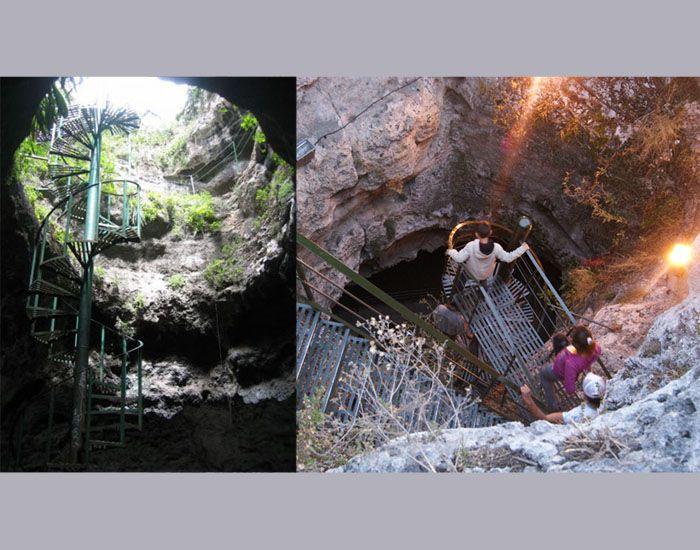 Tangga untuk turun ke dalam rongga dalam gunung  (kiri) dan tempat untuk melihat sumber aor panas (kanan)