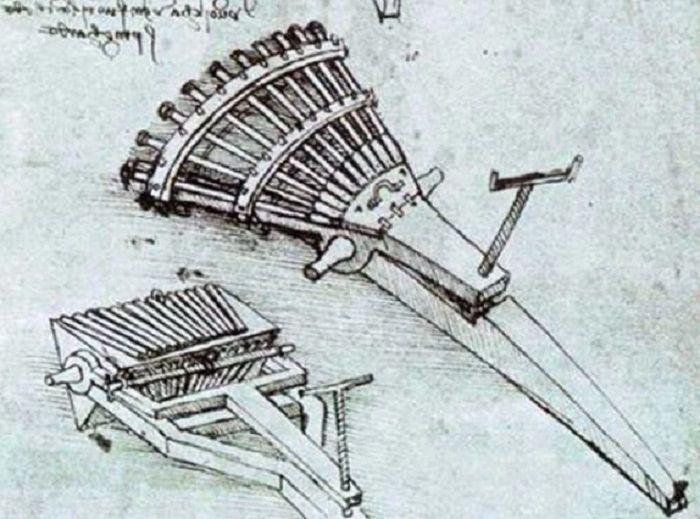 Da Vinci membuat sketsa baterai artileri berputar pada 1480
