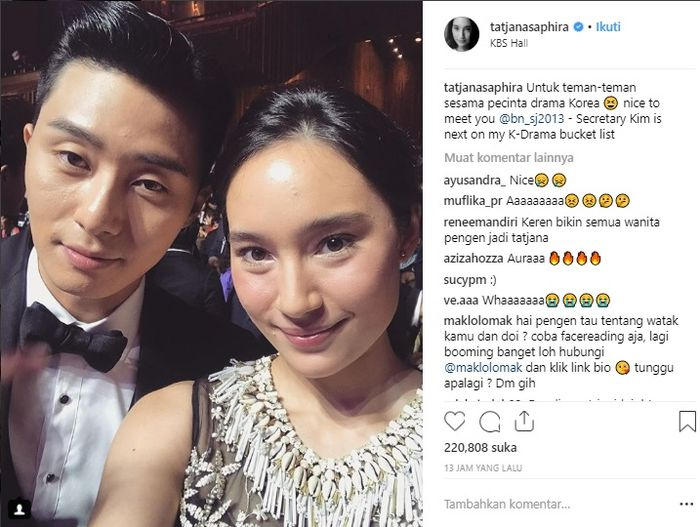Tatjana Saphira selfie bareng Park Seo Joon, pemain What's Wrong With Secretary Kim