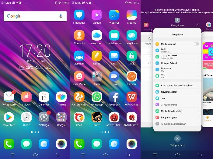 Vivo V11 Pro - homescreen dan multitasking