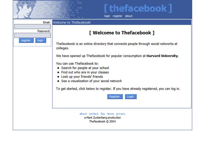 Tampilan website Facebook di tahun 2004