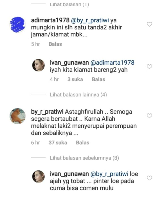 Balasan Ivan Gunawan terhadap para penghujat di instagram