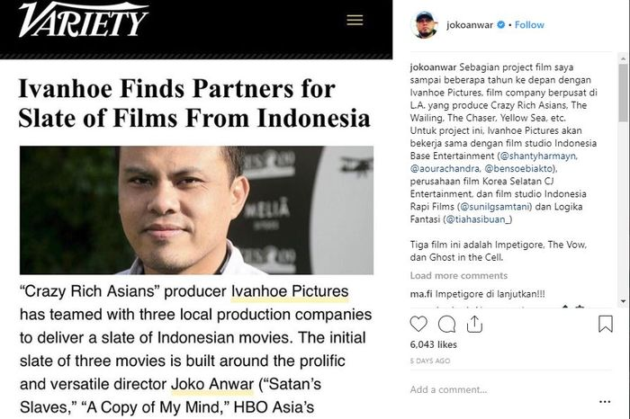 Unggahan Joko Anwar tetang kerjasamanya dengan rumah produksi Ivanhoe Pictures
