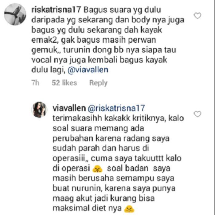 Via Vallen balas komentar netizen mengenai bentuk tubuh dan kualitas suaranya yang dinilai menurun