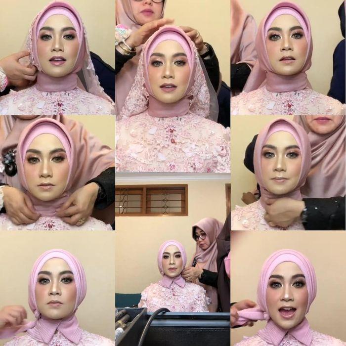 Makeup nuansa pinkish untuk resepsi Anisa Rahma