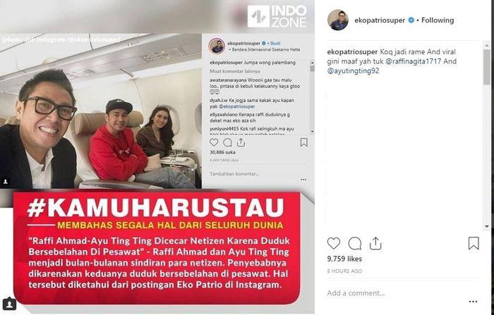 Unggahan Eko Patrio tentang Raffi Ahmad dan Ayu Ting Ting