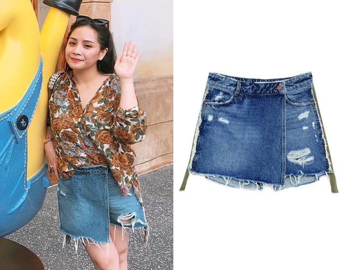 Nagita Slavina kenakan Deconstructed Wrap Denim Skirt